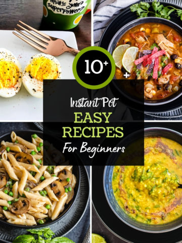 4 photo grid showing egg bites, curry, pasta and soup