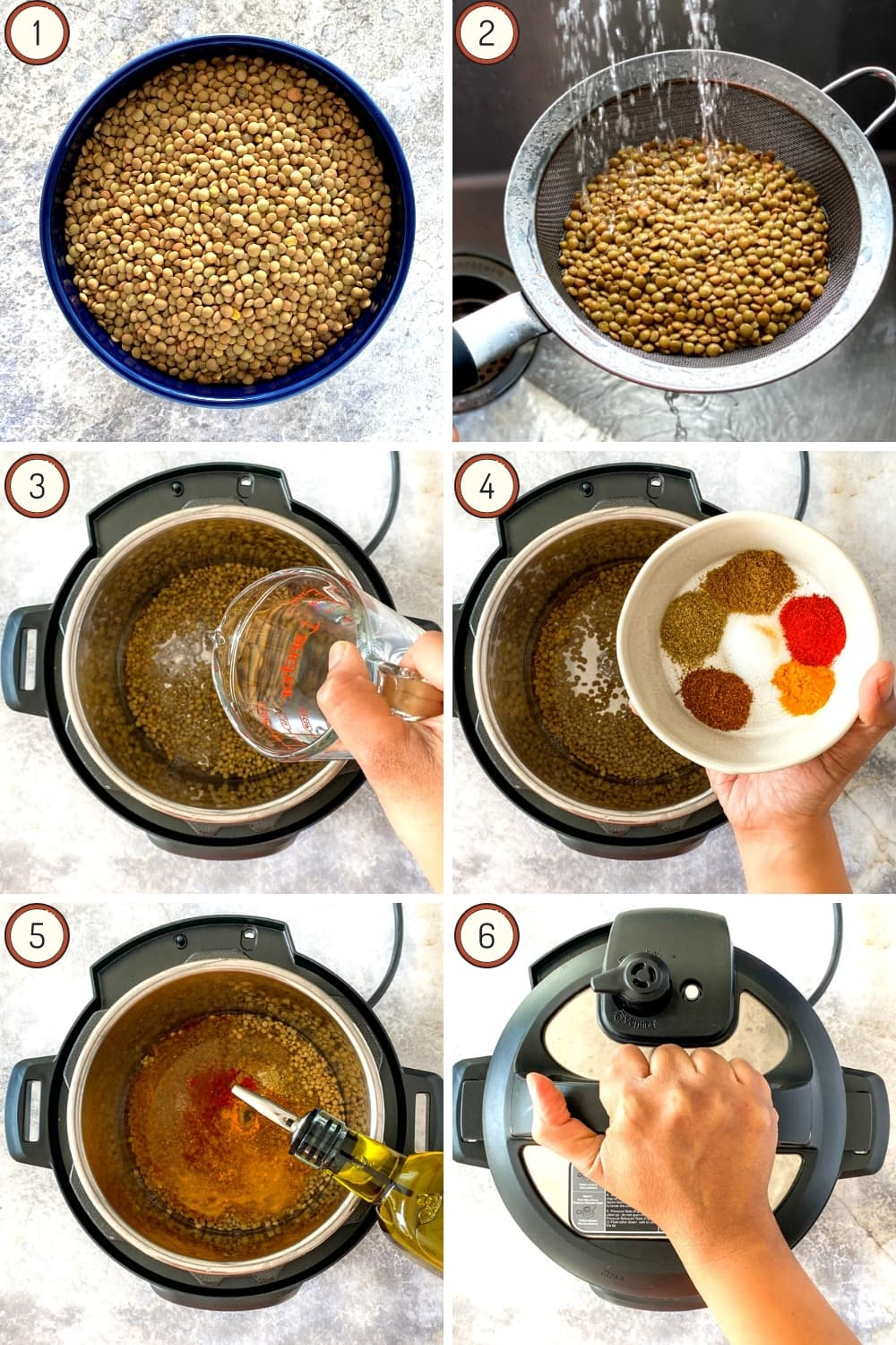 Instructions for how to cook lentils in the Instant Pot