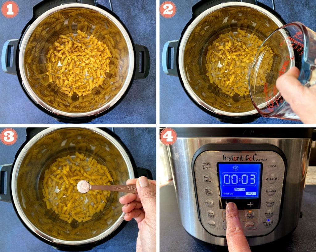 5 steps showing how to cook pasta in an instant pot