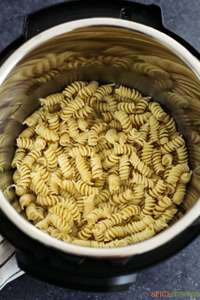 Cooked pasta in the instant pot