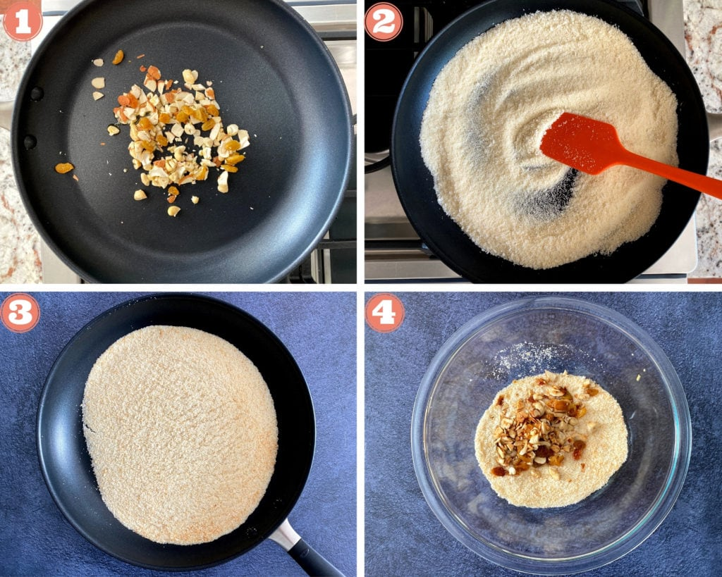 4-grid photo collage showing roasting nuts and semolina