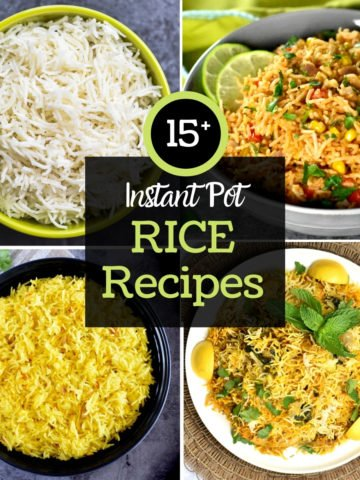 a 4-photo grid of rice recipes including white, Indian and Mexican rice