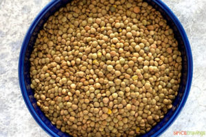 Uncooked lentils in a bowl