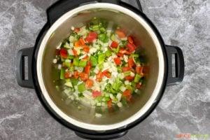 Vegetables inside an Instant Pot