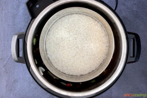 Rice being cooked in an Instant Pot