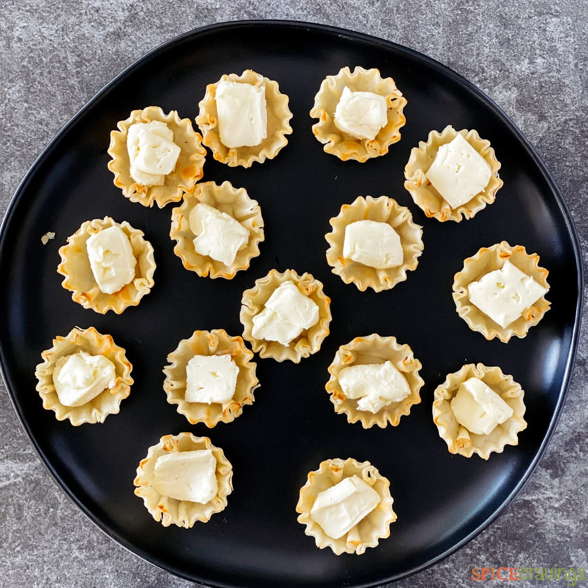 Brie added to phyllo cups