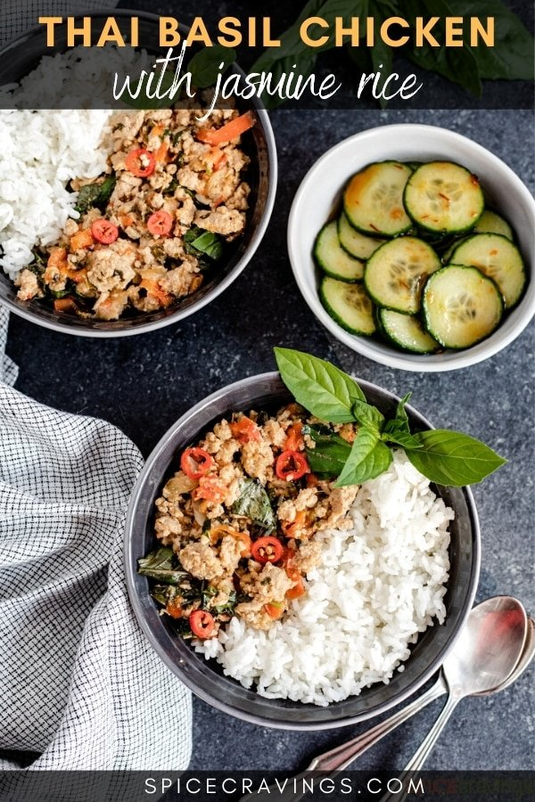 Two bowls of Thai basil chicken next to a bowl of cucumbers