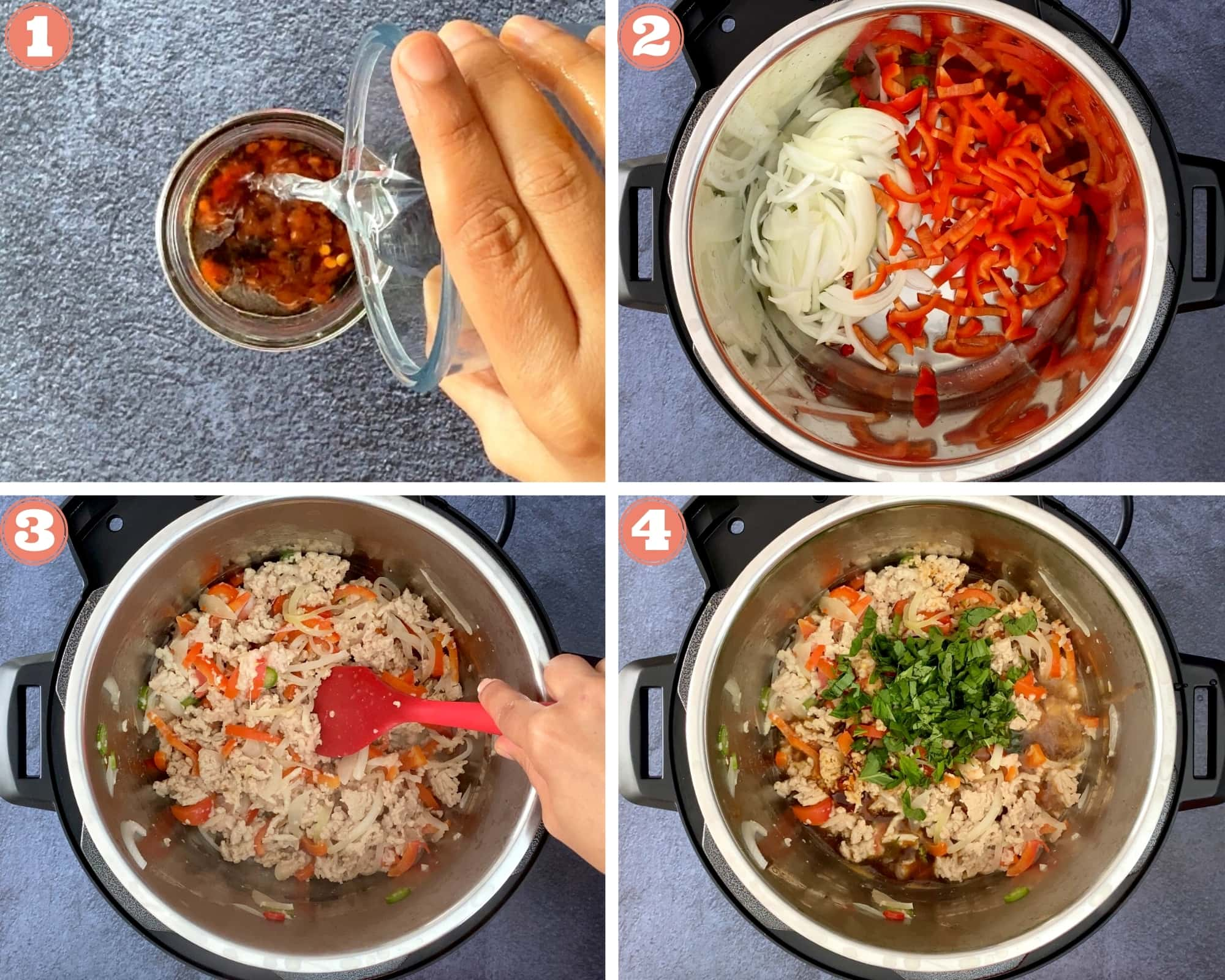 First four steps for making Thai basil chicken in the Instant Pot