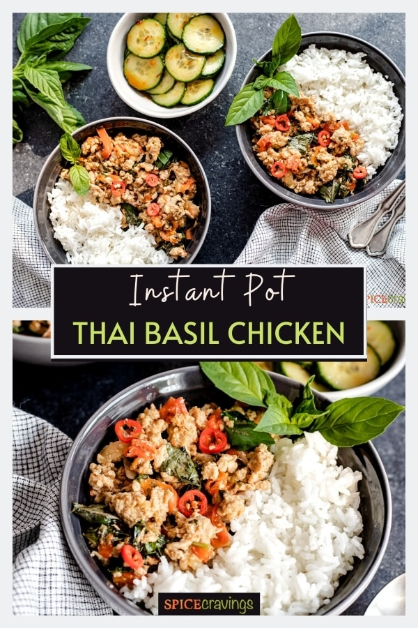 Bowls full of chicken with a side of basil and rice