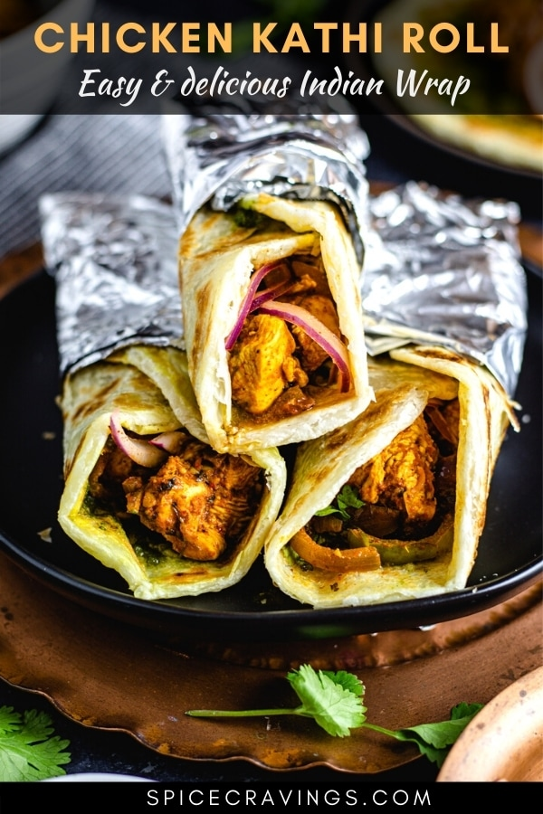 Indian street food kathi rolls wrapped in aluminum foil