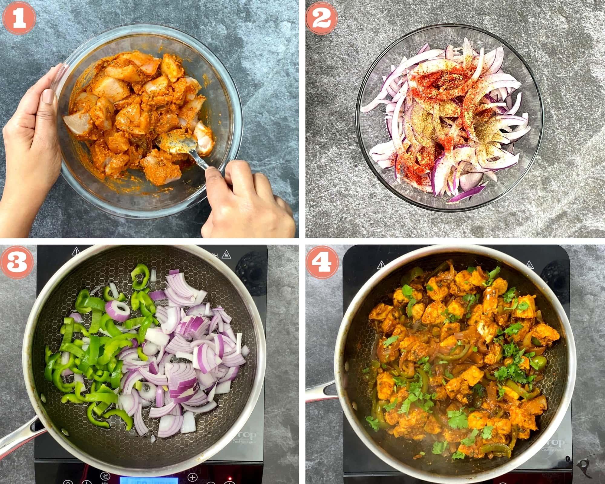 First 4 steps to make chicken kathi rolls