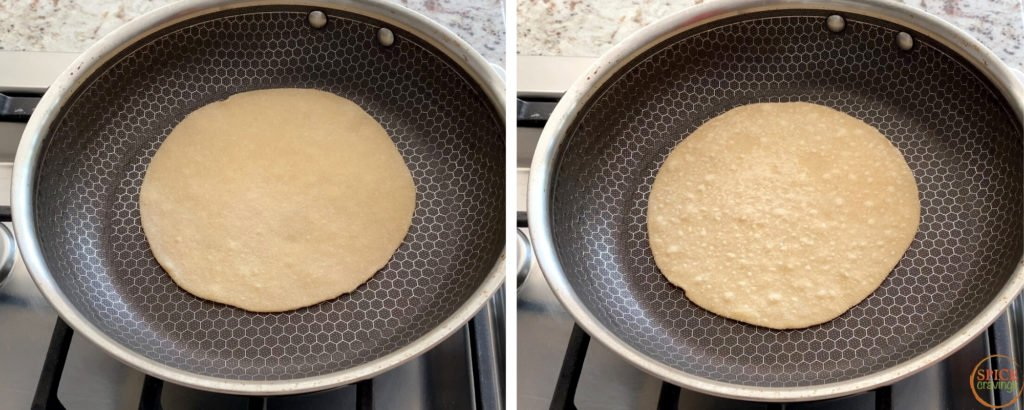 Cooking roti in a skillet