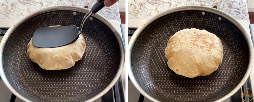 Cooking roti in a non stick pan