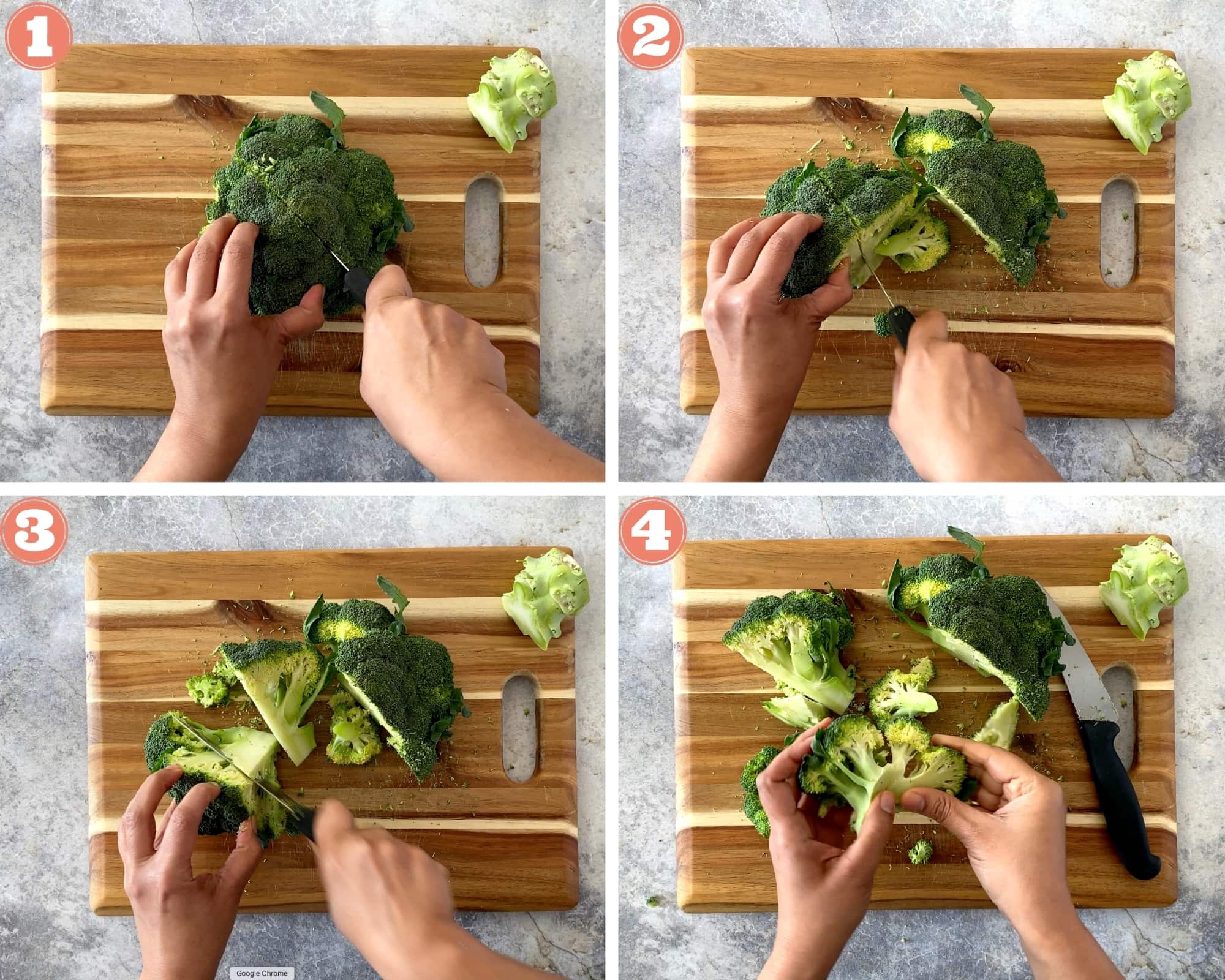 Instructions for how to cut broccoli
