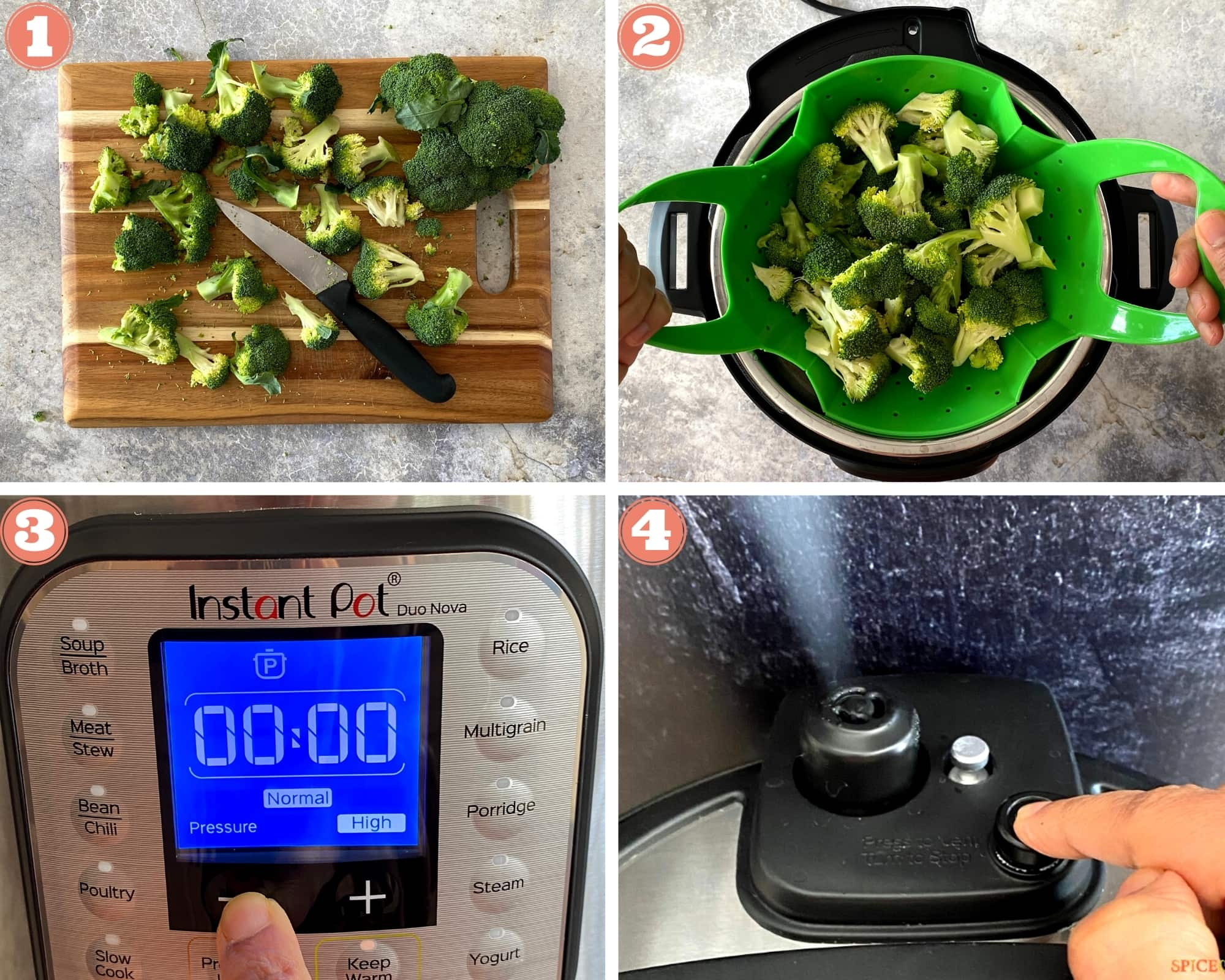 Instructions for how to steam broccoli in the Instant Pot