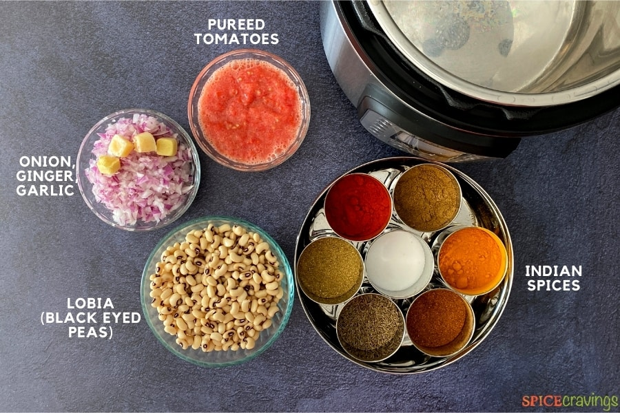 Ingredients for making Indian-style black eyed peas curry, Lobia