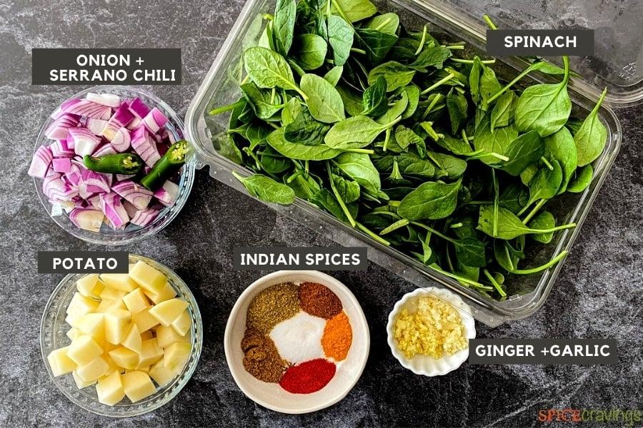 Ingredients for making Saag Aloo