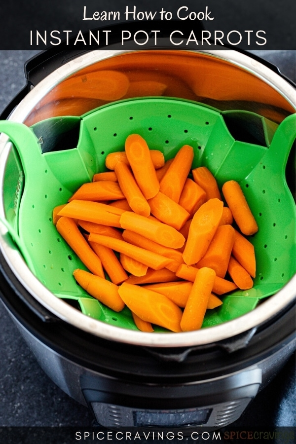 Instant Pot carrots in a strainer