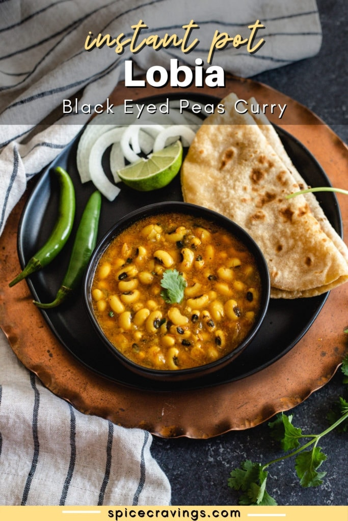 Indian style black eyed peas curry with roti