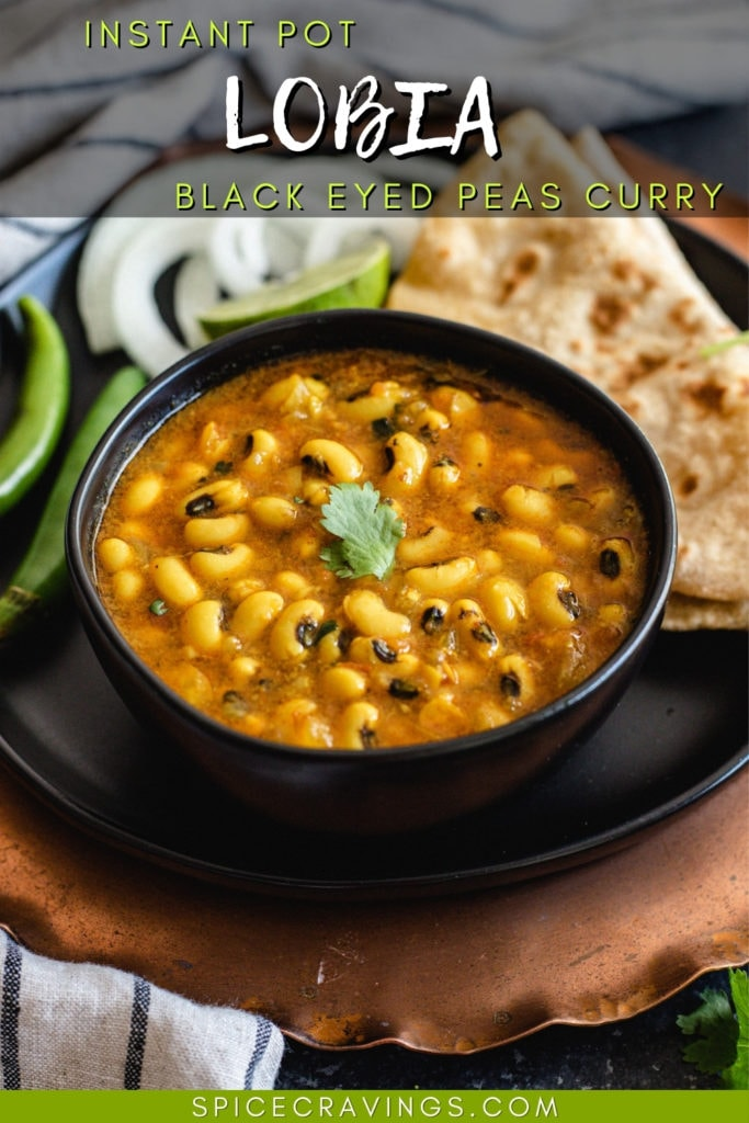 Black eyed peas curry in a black bowl