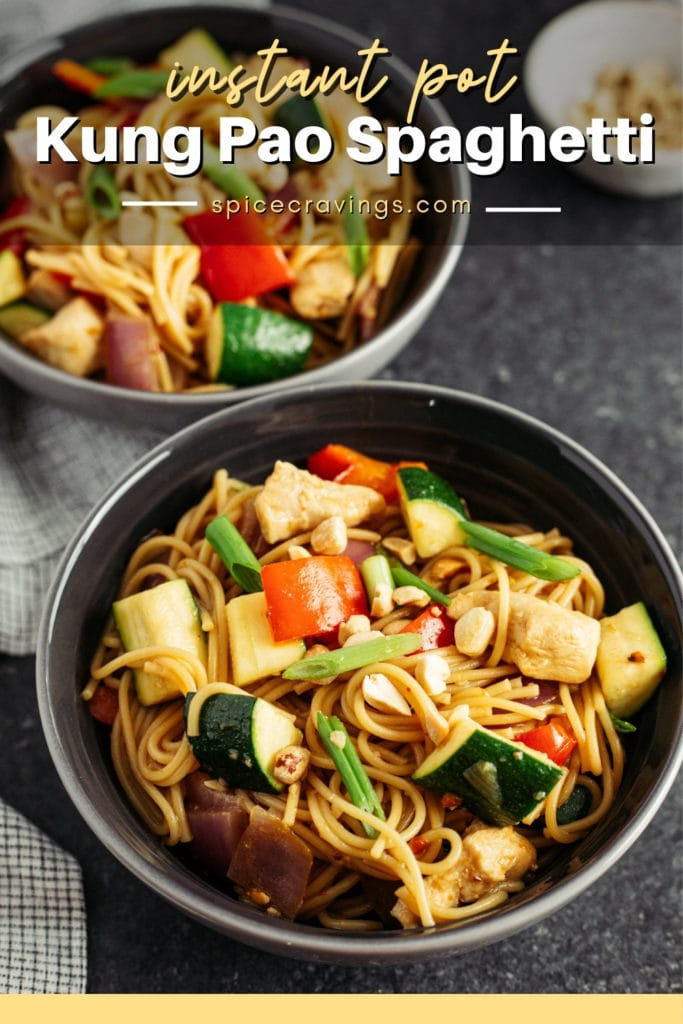 Kung Pao Spaghetti in two bowls