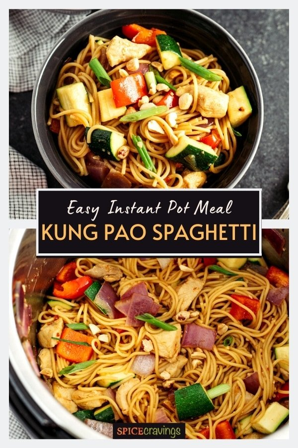 Kung Pao Spaghetti in a bowl and an Instant Pot