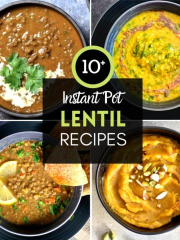 4-photo grid of lentil recipes including soup, curry and pudding