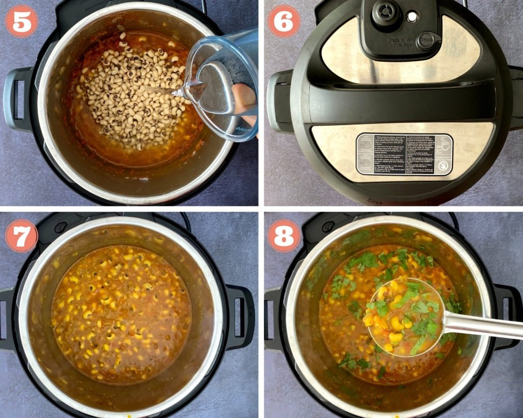 last four steps showing how to make black eyed peas curry in instant pot