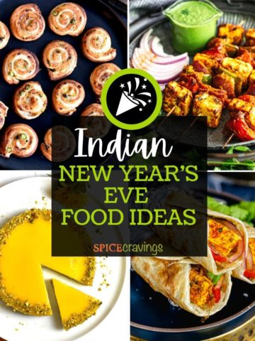 4-image grid of Indian fusion food including cheesecake, wraps and pinwheels