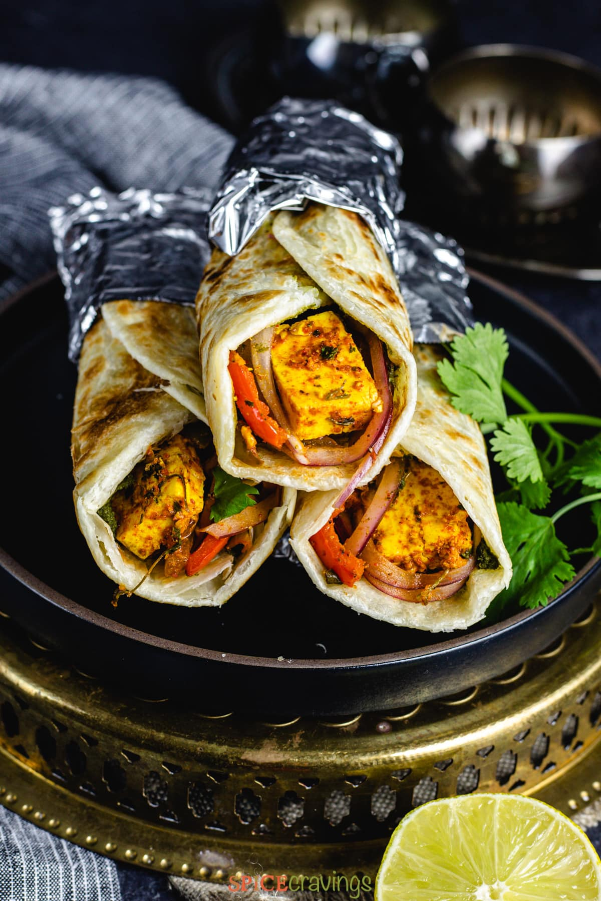 Paneer Kathi Rolls stacked on a plate