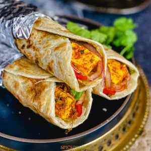 A stack of paneer kathi rolls