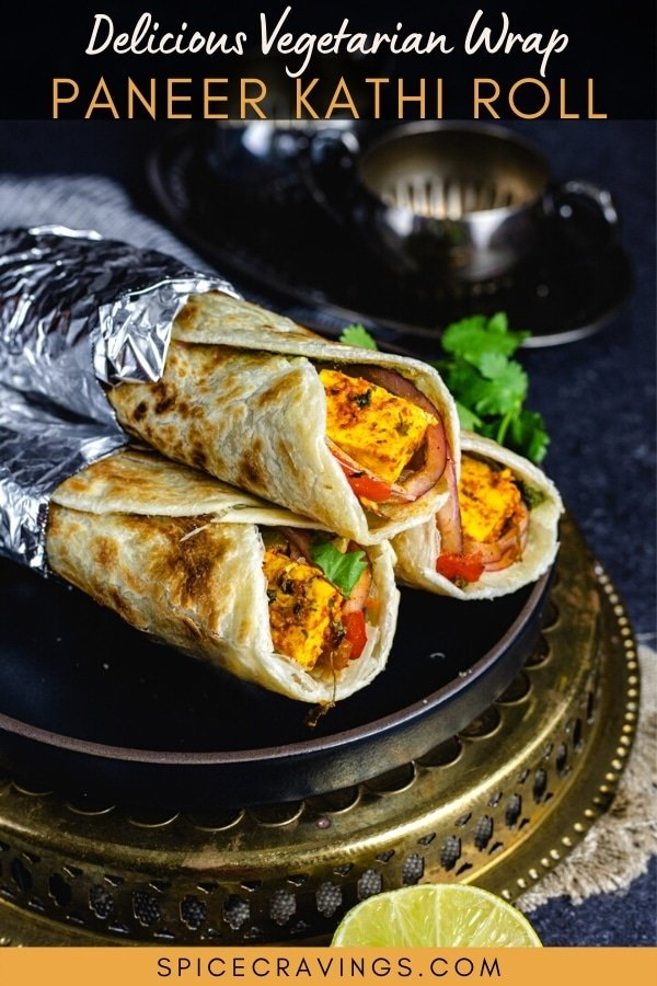 A stack of vegetarian kathi rolls on a plate