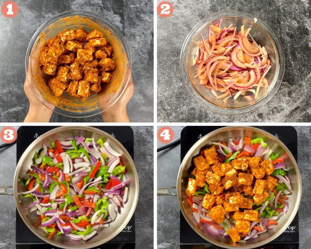 First four steps for making kati rolls with paneer