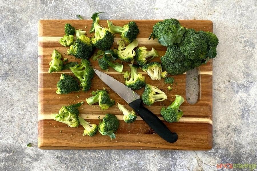 Cut broccoli on a cutting board