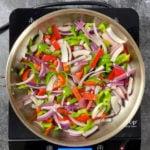 Veggies cooking in a pan
