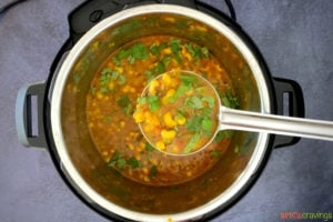 Black eyed peas curry in a ladle