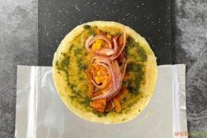Ingredients for paneer kathi roll inside paratha