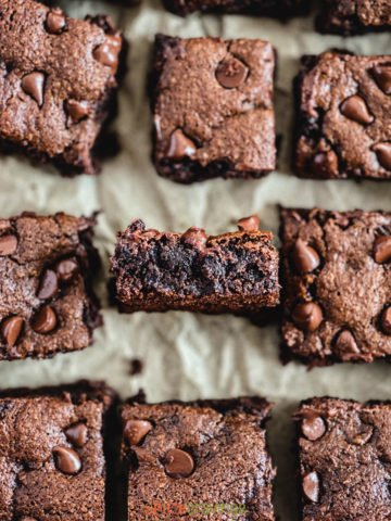 Almond flour brownies on a piece of parchment paper