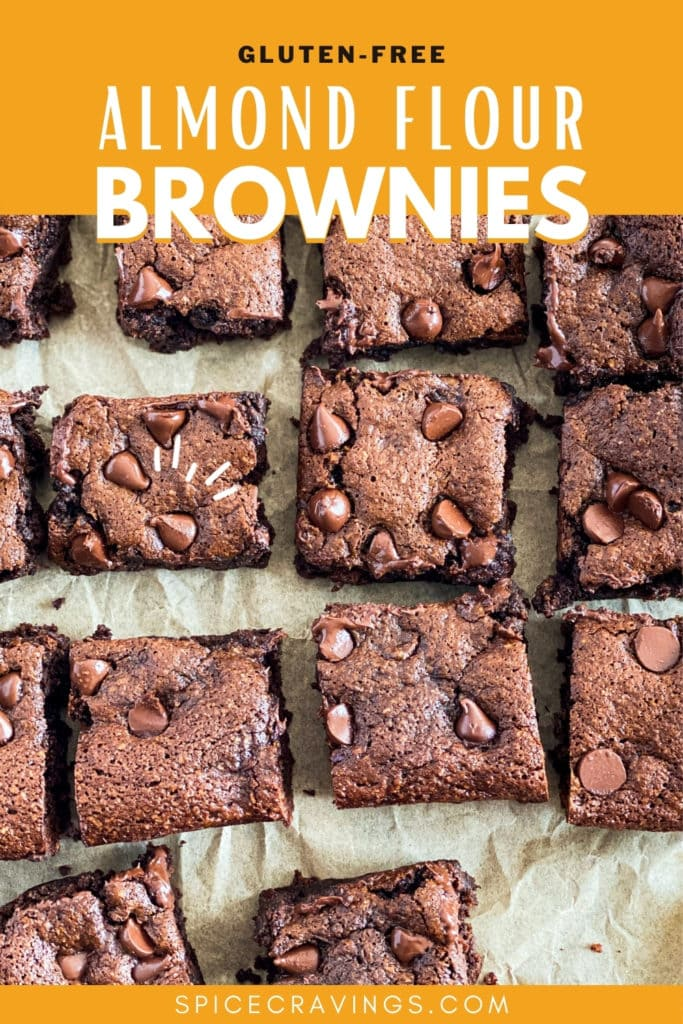 Slices of almond flour brownies