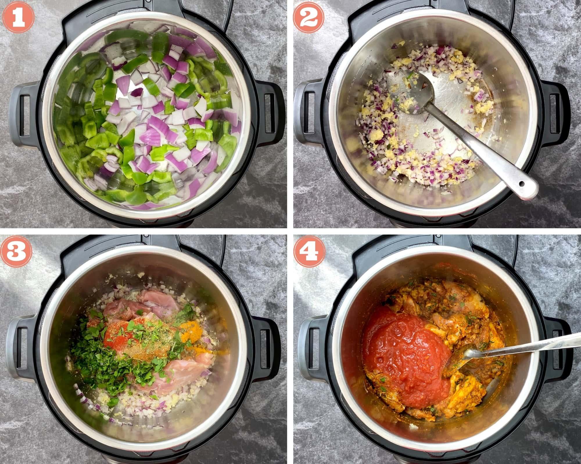 Steps one through four for Kadai Chicken