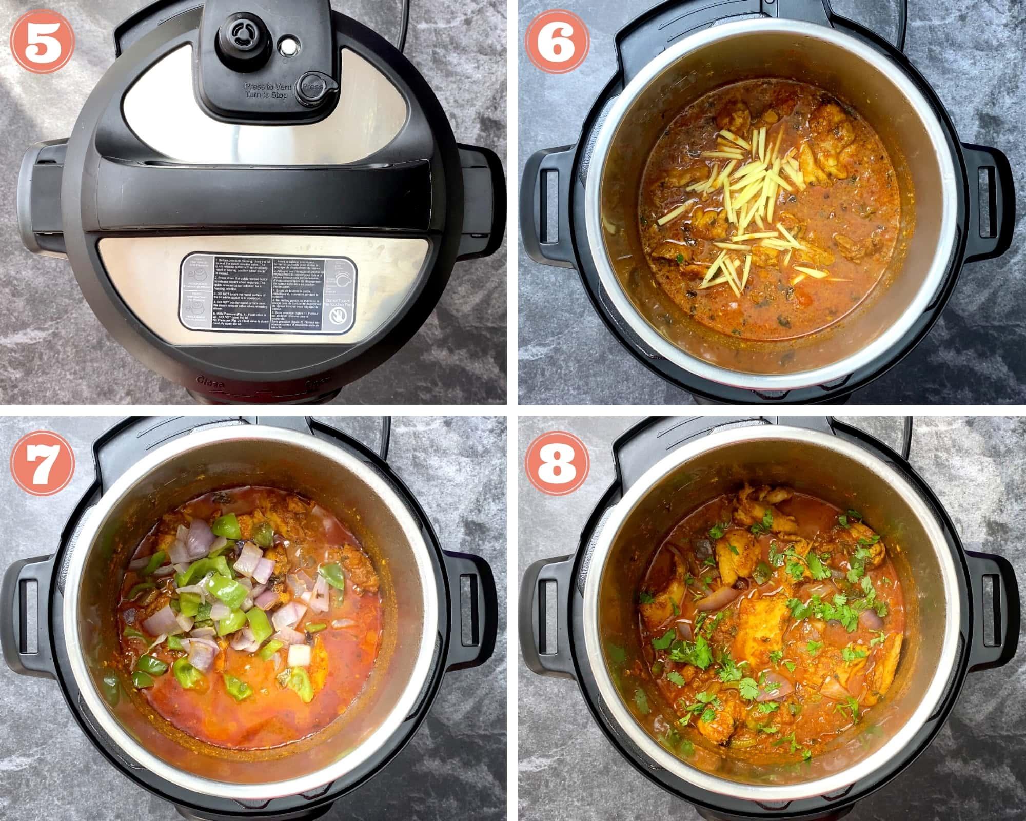 Steps five through eight for chicken karahi