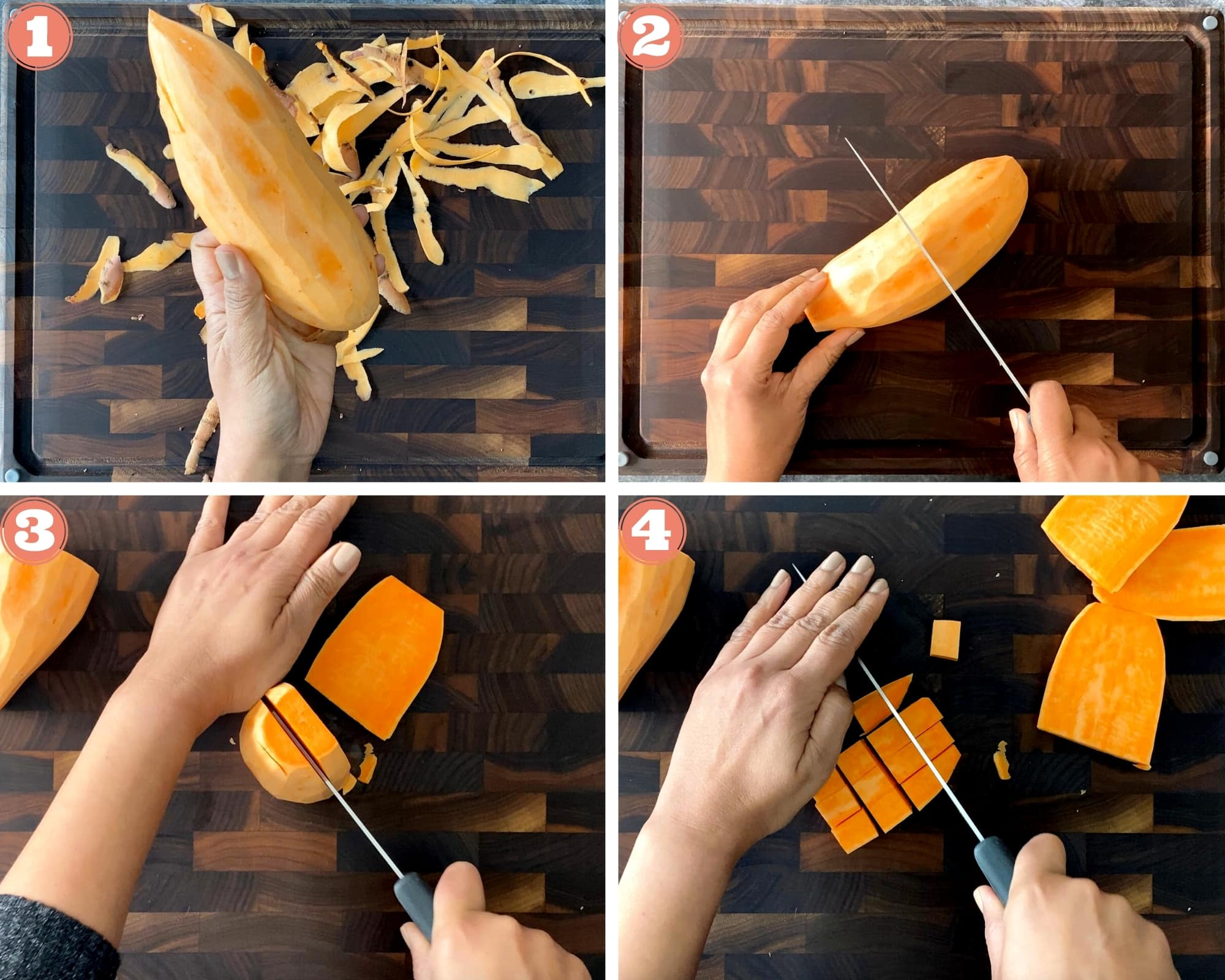 Steps to cut a sweet potato