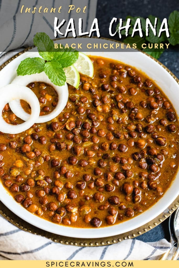 Black chickpea curry in abowl