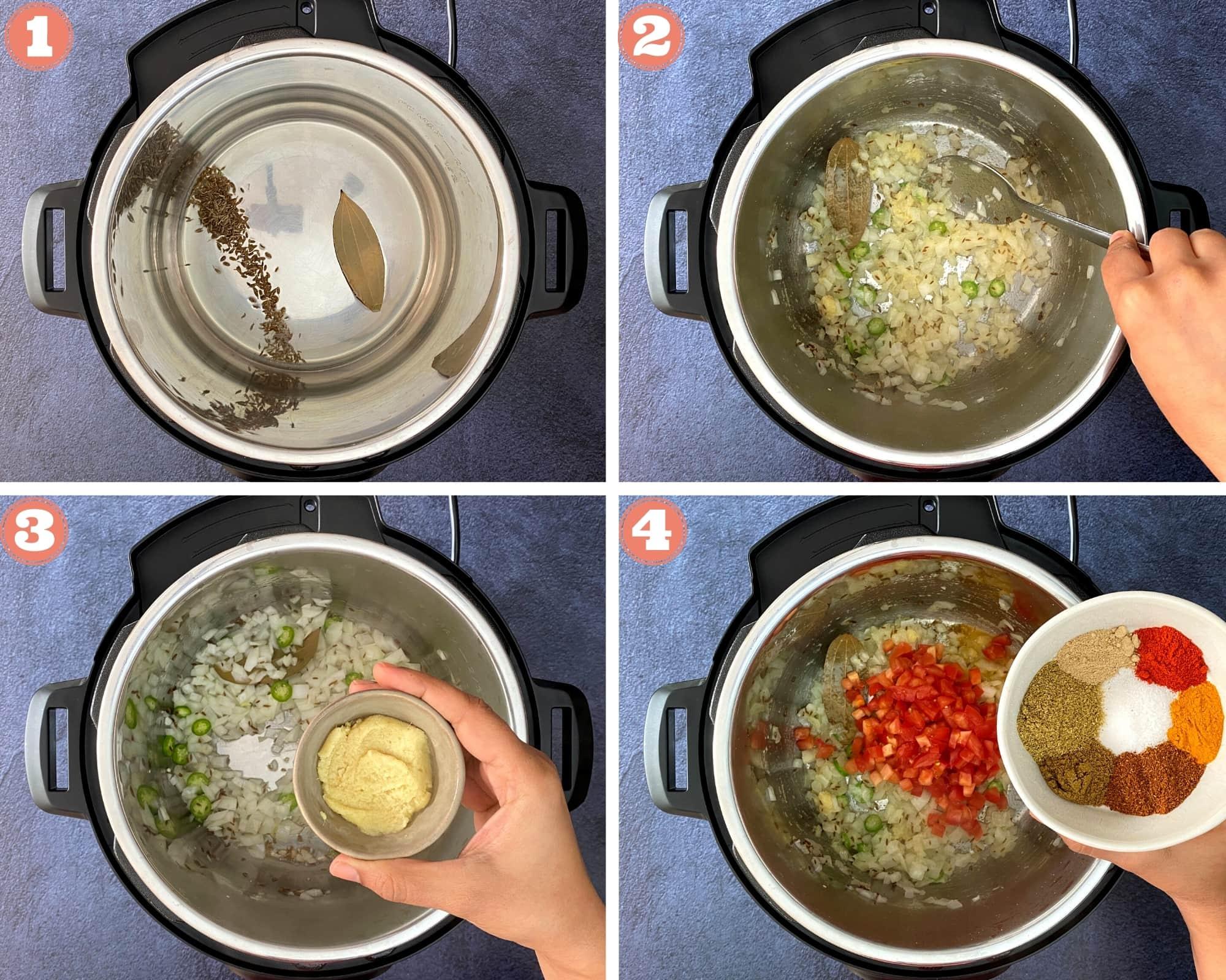 Steps 1 through 4 for Kala Chana Curry