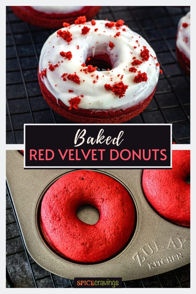 Red velvet donuts glazed with cream cheese icing