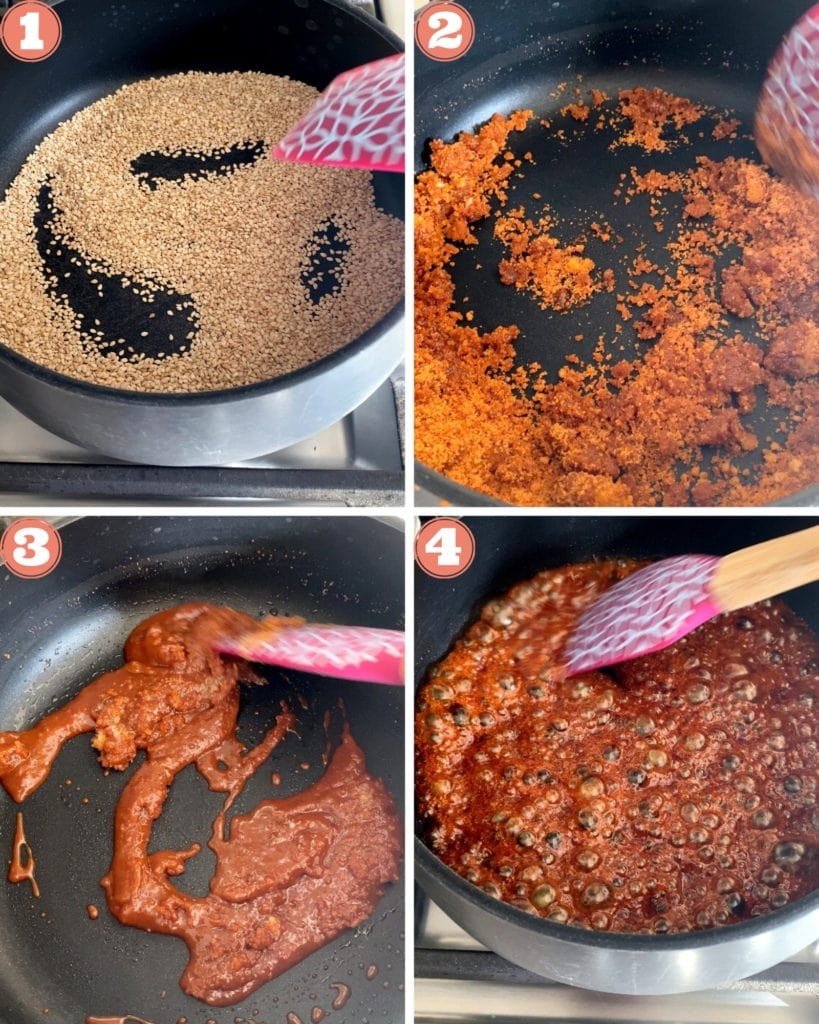 First four steps showing how to make til chikki in a pan