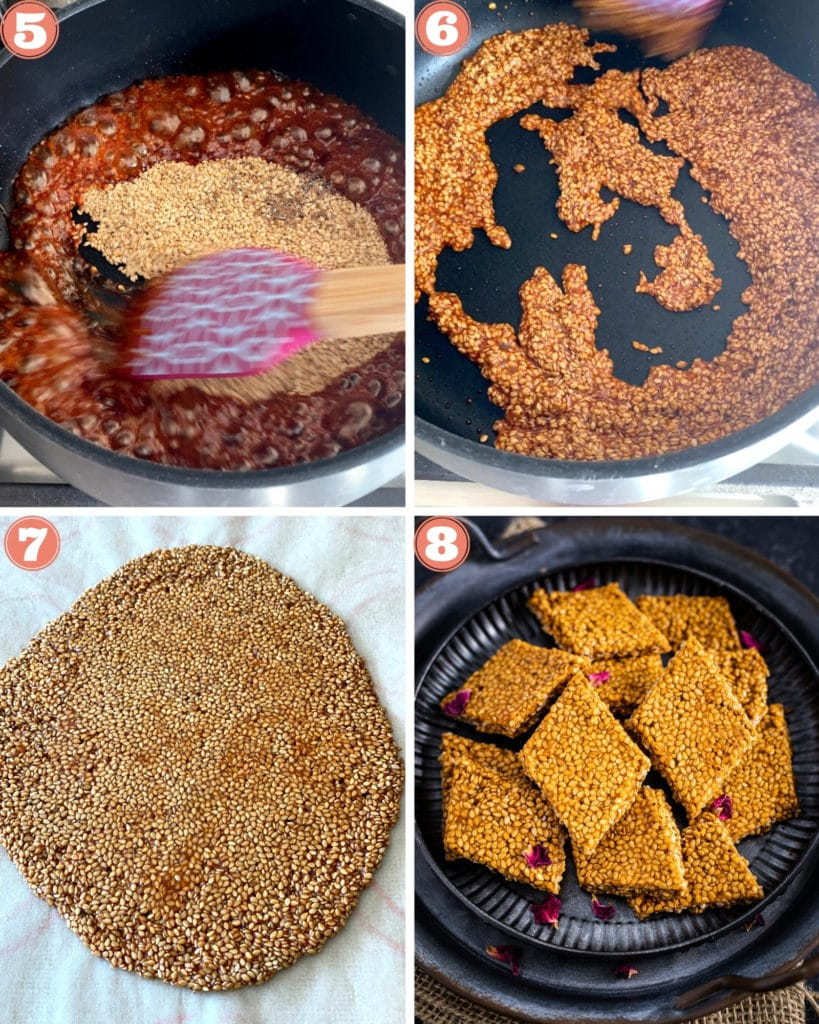 4-photo grid showing the last four steps to make til chikki