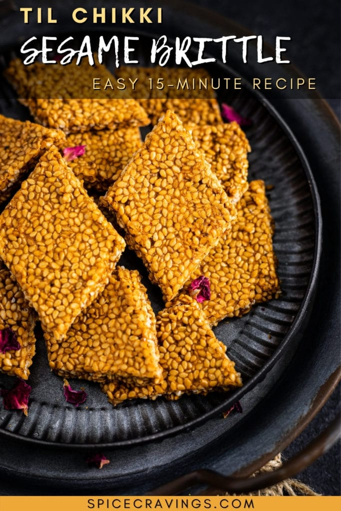 Sesame brittle with rose petals