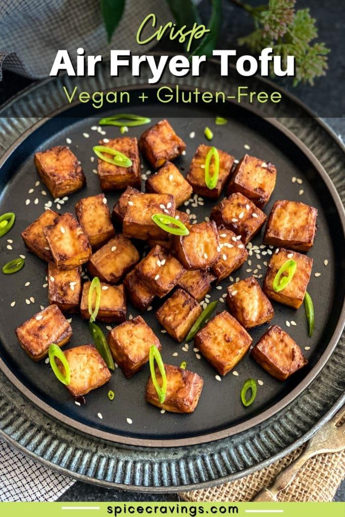 Crispy Air Fried Tofu on a black plate