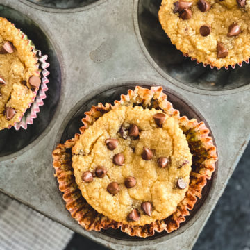 healthy almond flour banana chocolate chip muffins in muffin tin